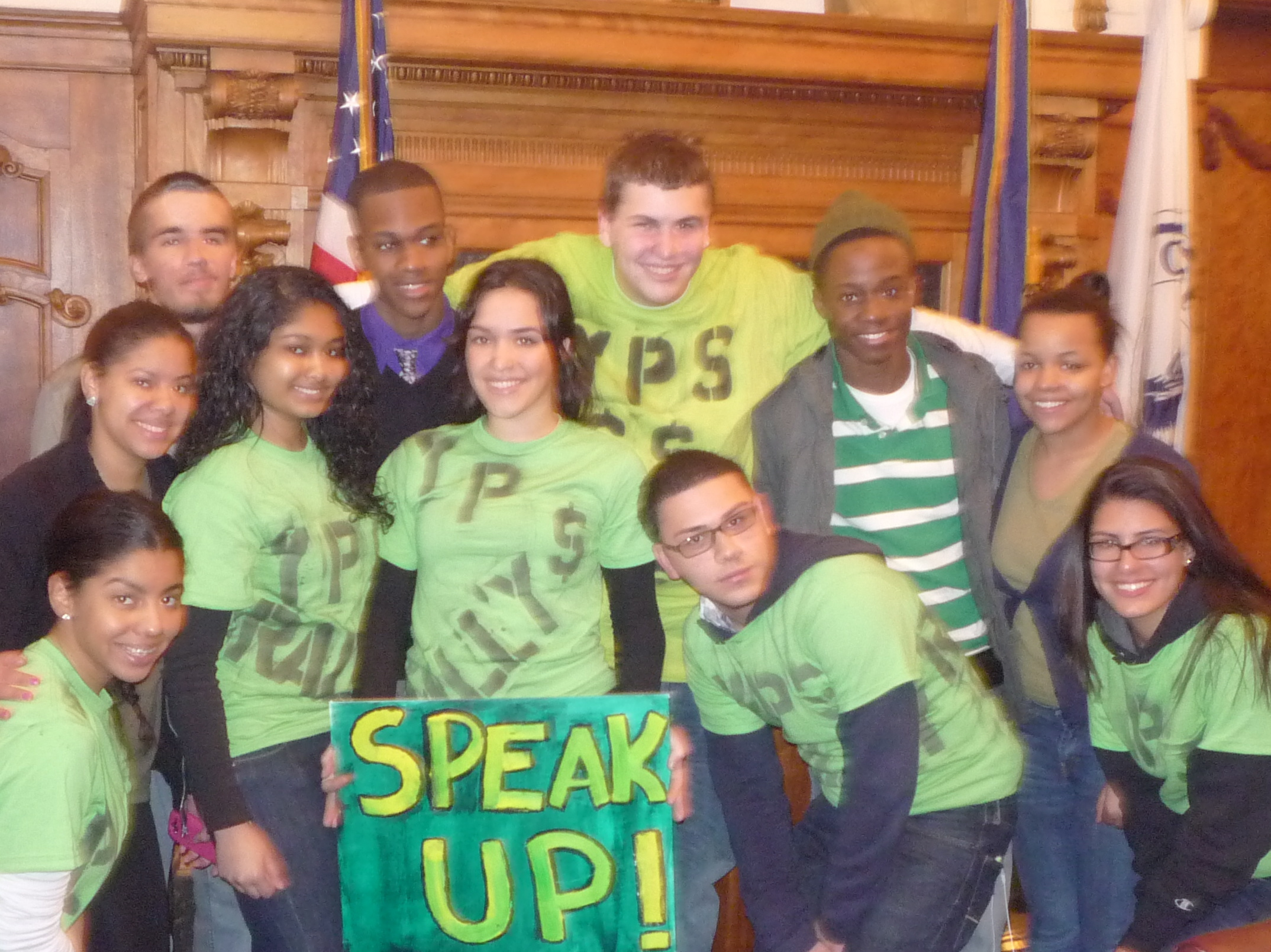 The Yonkers high schools' student body leaders who organized the March 30 protest at City Hall against state cuts to Yonkers' education funding.