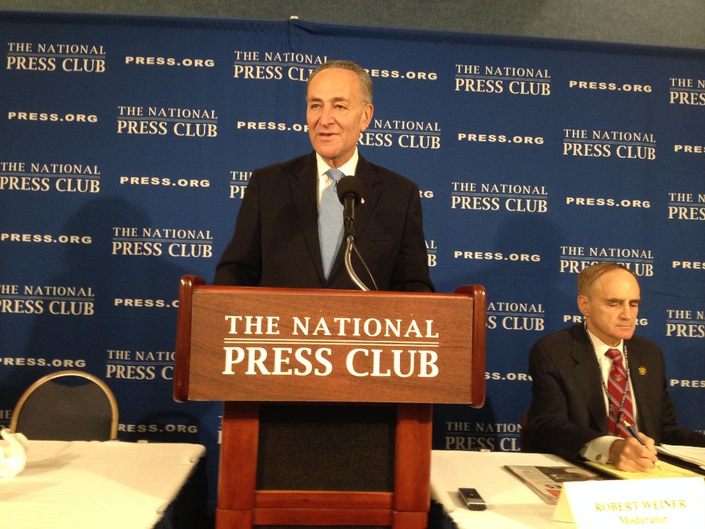 Sen. Chuck Schumer at the National Press Club (USA TODAY photo by Brian Tumulty, Nov. 25, 2014)