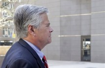 New York Senate Majority Leader Dean Skelos arrives at FBI offices, Monday, May 4, 2015, in New York. The Long Island Republican surrendered to face charges including extortion and soliciting bribes amid a federal investigation into the awarding of a $12 million contract to a company that hired his son. (AP Photo/Mark Lennihan)