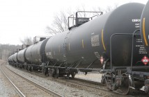 A CSX train carrying light crude oil makes it way through West Nyack on March 17, 2014.