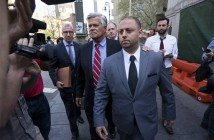 New York Senate Majority Leader Dean Skelos and his son Adam leave federal court in New York, Monday, May 4, 2015, after arraignment on charges including extortion and soliciting bribes amid a federal investigation into the awarding of a $12 million contract. (AP Photo/Craig Ruttle)