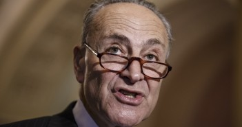 Sen. Chuck Schumer, D-N.Y., and Democratic leaders meet with reporters after Republicans gave up on their quest to stop funding for the Homeland Security Department unless it contained roll backs to counter President Barack Obama's executive actions on immigration, at the Capitol in Washington, Tuesday, March 3, 2015. (AP Photo/J. Scott Applewhite) ORG XMIT: DCSA133
