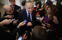 WASHINGTON, DC - FEBRUARY 24:  Sen. Charles Schumer (D-NY) (C) talks with reporters after a news conference about the possible shutdown of the Department of Homeland Security at the U.S. Capitol February 24, 2015 in Washington, DC. Democrats have successfully blocked the $39.7 billion funding legislation because it would also strip away the executive actions in which President Barack Obama eased the deportation threat for several million undocumented immigrants. If Republicans and Democrats can not work around the impasse then 30,000 DHS employees will go home February 28 and 200,000 more will work without paychecks until a solution is found.  (Photo by Chip Somodevilla/Getty Images) ORG XMIT: 539693291 ORIG FILE ID: 464314196
